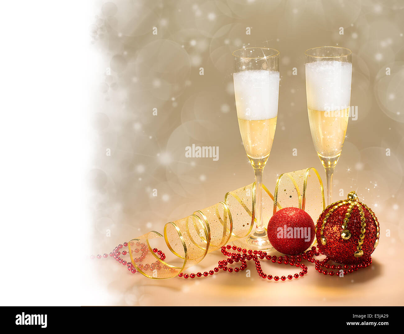 decorate champagne glasses. Two champagne glasses and Christmas decoration with copy space Greeting Card