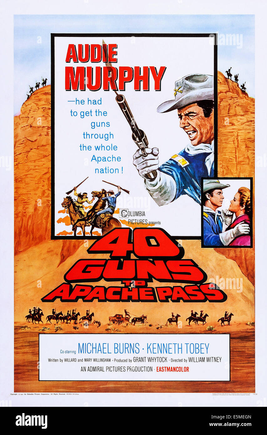 40 Guns To Apache Pass Us Poster Audie Murphy Top