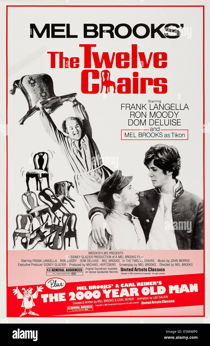 the twelve chairs, us poster art, from back left: dom deluise, mel
