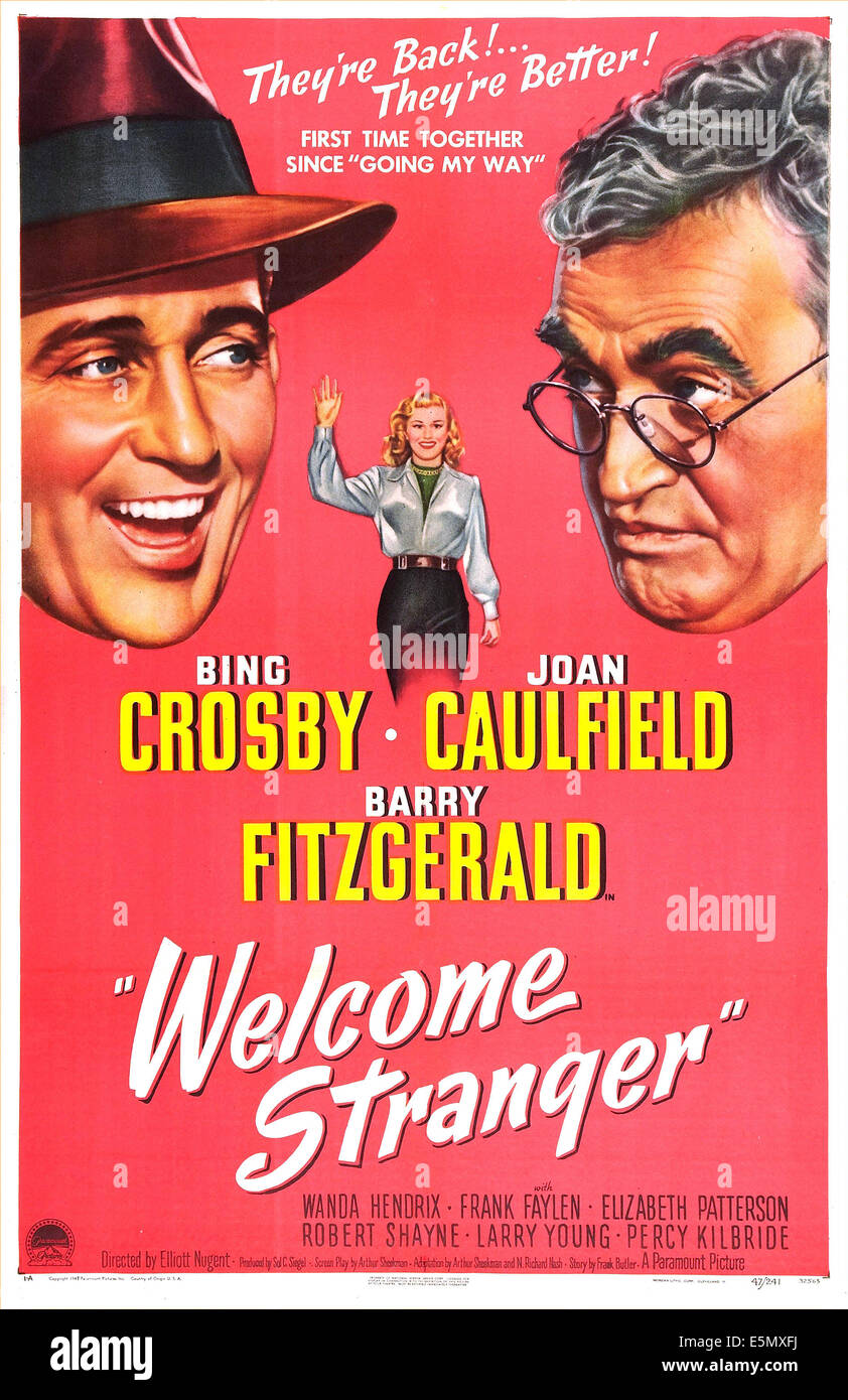 Welcome stranger us poster from left bing crosby joan caulfield barry