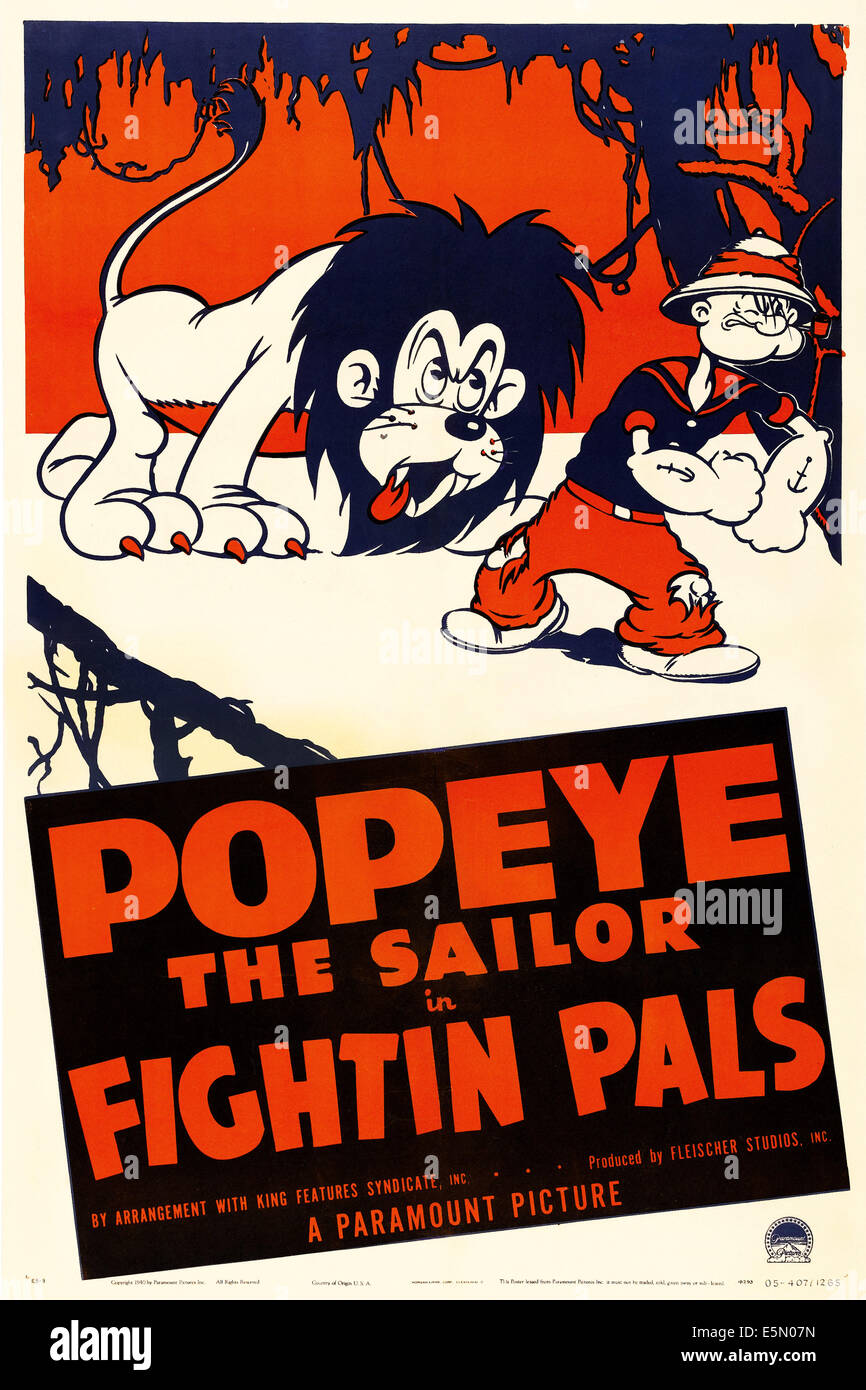 Poster design 1940 - Fightin Pals U S Poster Art Right Popeye The Sailor 1940
