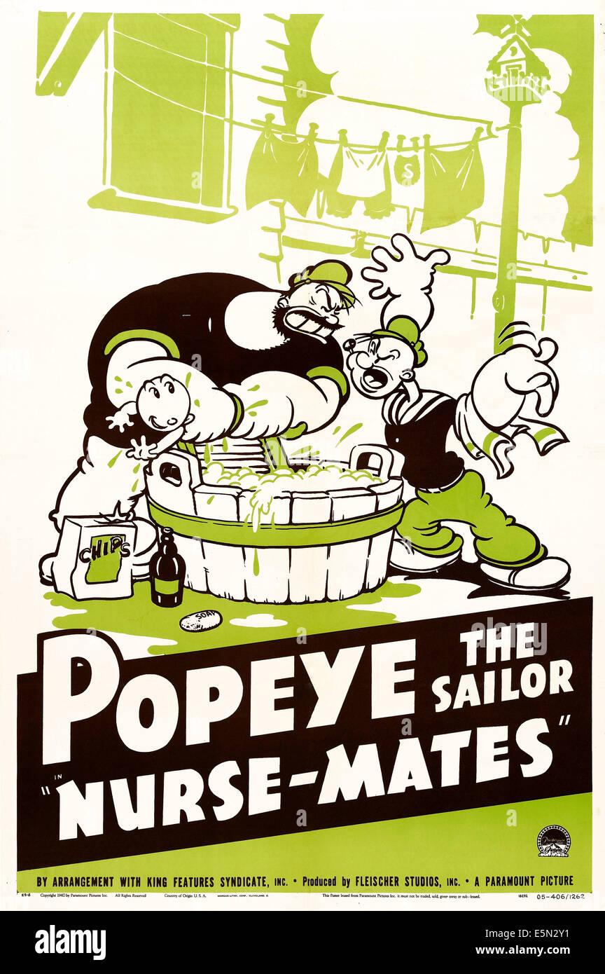 Poster design 1940 - Nurse Mates U S Poster Art Swee Pea Bluto Popeye 1940