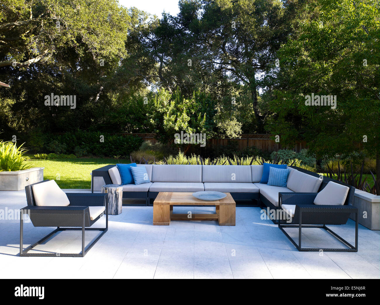Superb Terrace Furniture In Garden Of Stone House, Atherton, California, USA