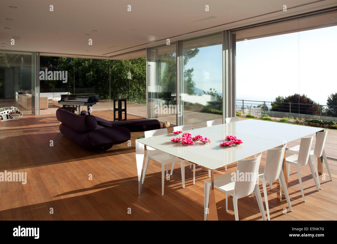 Open Plan Dining Room With View Through Full Length Windows To Terrace Of L House Israel Middle East