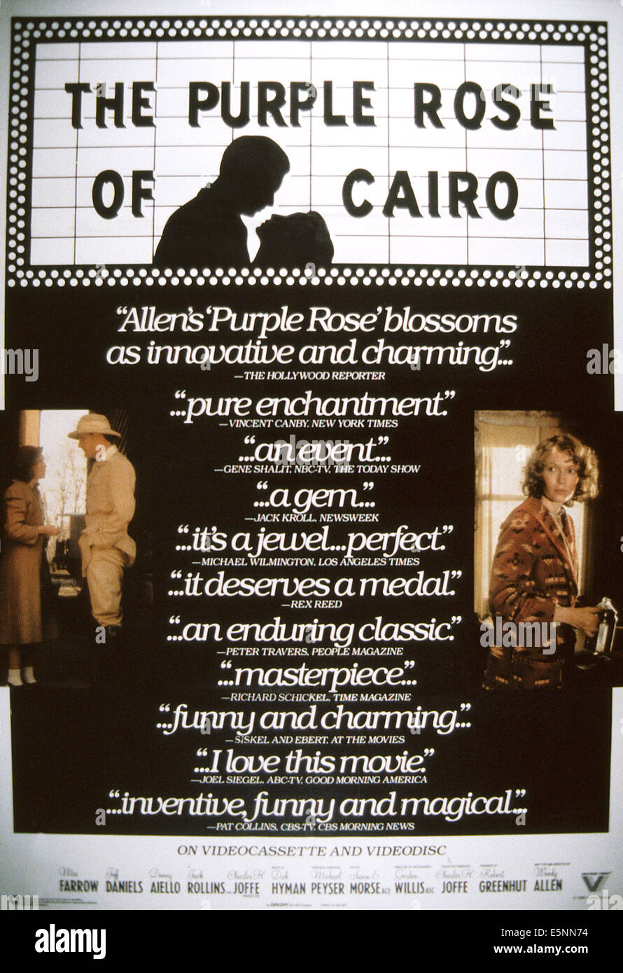 the purple rose of cairo The purple rose of cairo is audacious and witty and has a lot of good laughs in  it, but the best thing about the movie is the way woody allen.