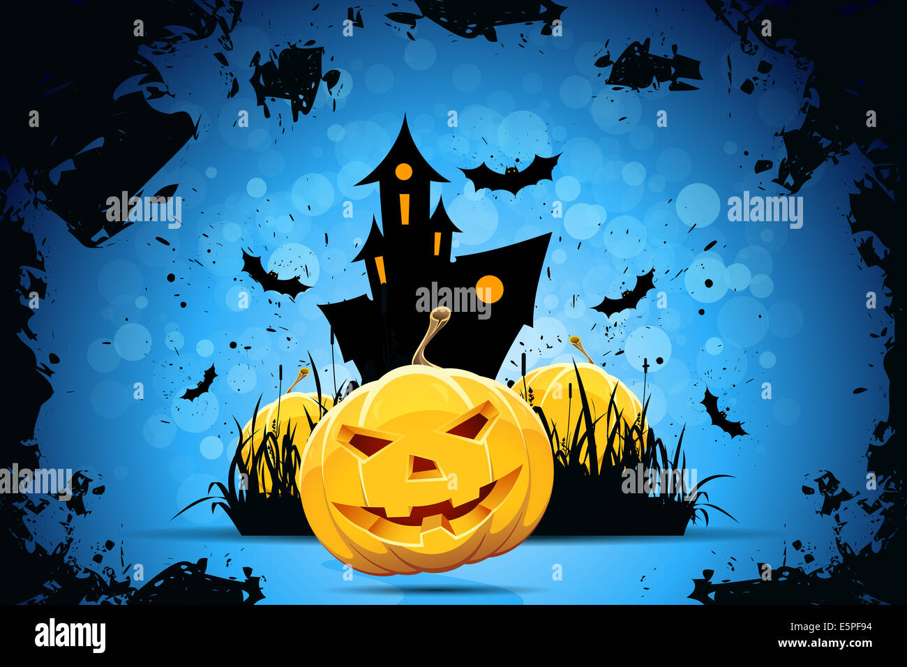 Grunge Halloween Party Background with Pampkins, House in Grass ...