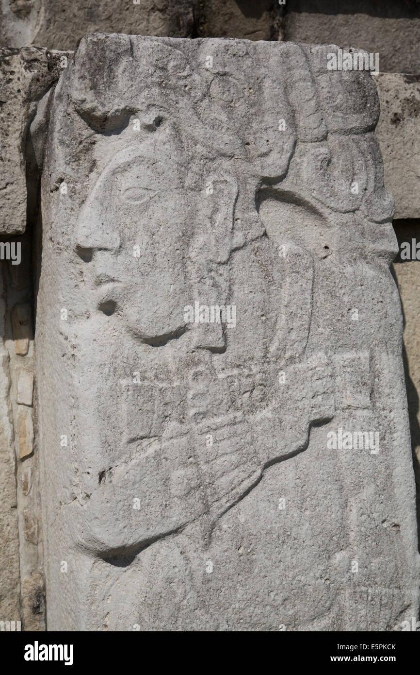 Stone Sculptures, Patio Of The Captives, The Palace, Palenque  Archaeological Park, UNESCO Site, Palenque, Chiapas, Mexico