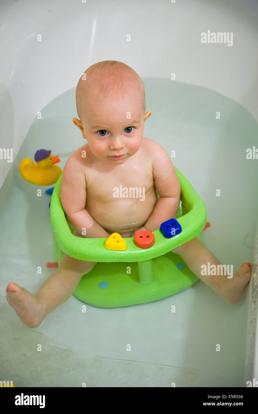12 month old baby boy having a bath Stock Photo, Royalty Free ...