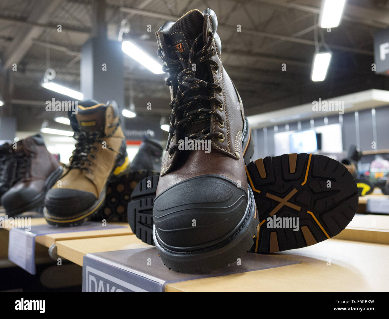 Men Leather Work Boots Store Display Stock Photo, Royalty Free ...