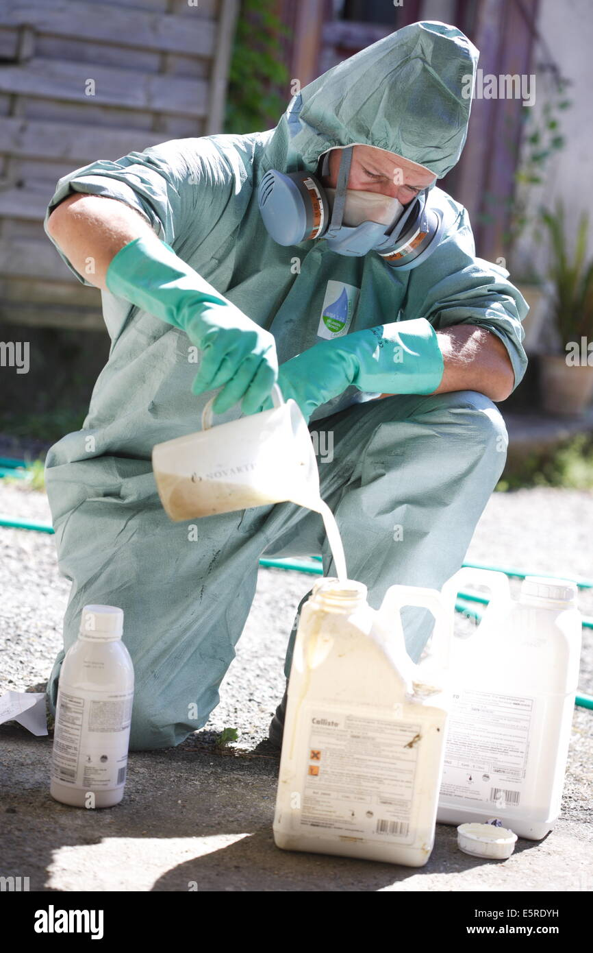 Farmer Mixing Novartis ® Chemicals (callisto, Milagro) To Spray On Corn  Fields, He Is Wearing Protective Suit And Mask, This