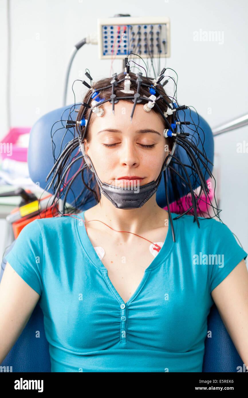 Woman Undergoing An Electroencephalogram Eeg Limoges