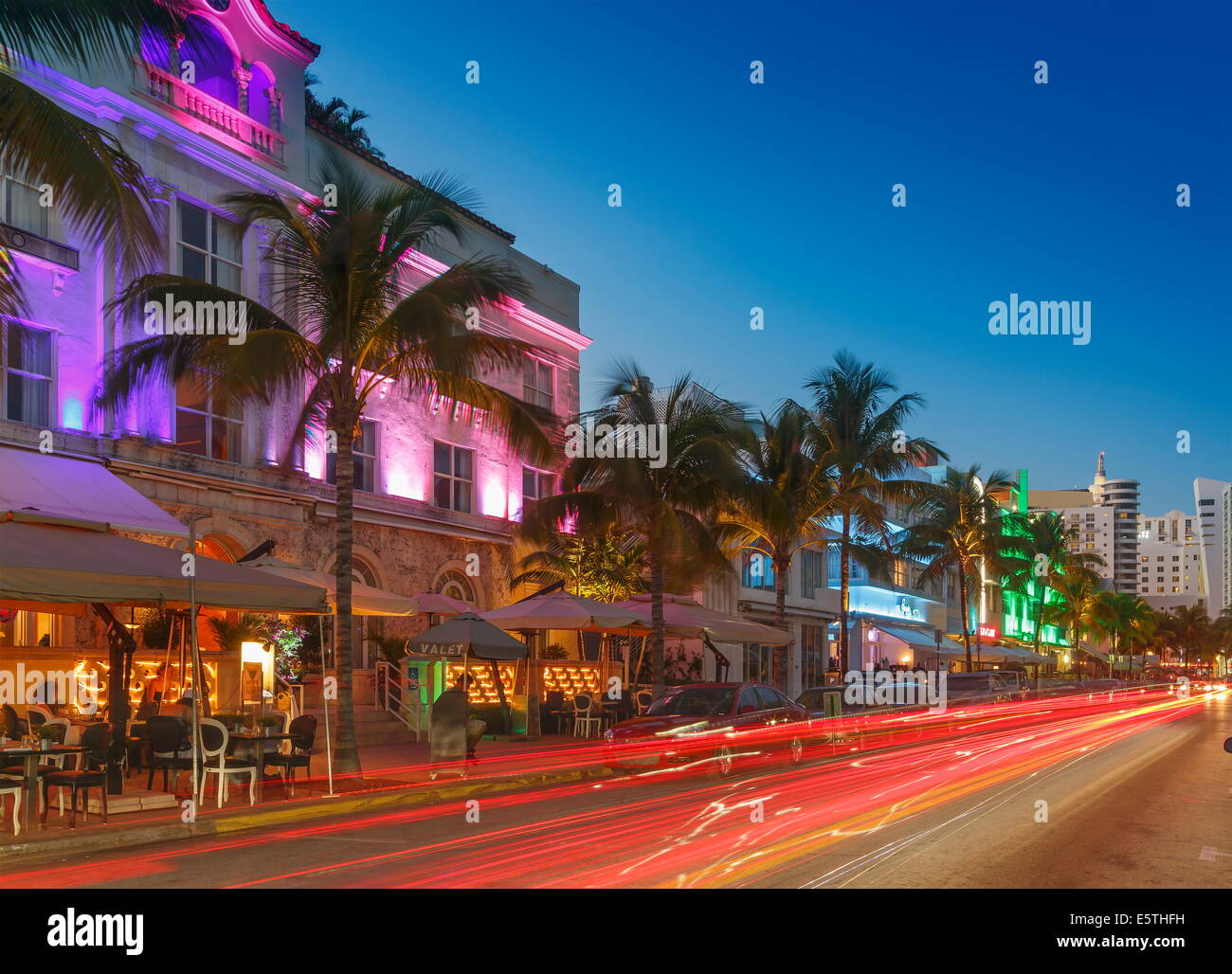 Art Deco District At Night Ocean Drive South Beach Miami Florida United States Of America North