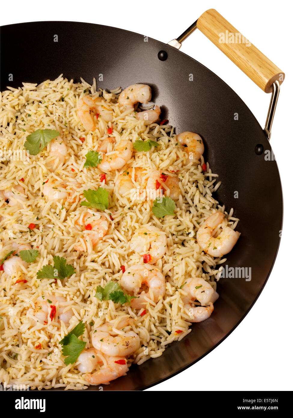 STIR FRY GREEN THAI RICE IN WOK WITH PRAWNS OR SHRIMP Stock Photo ...