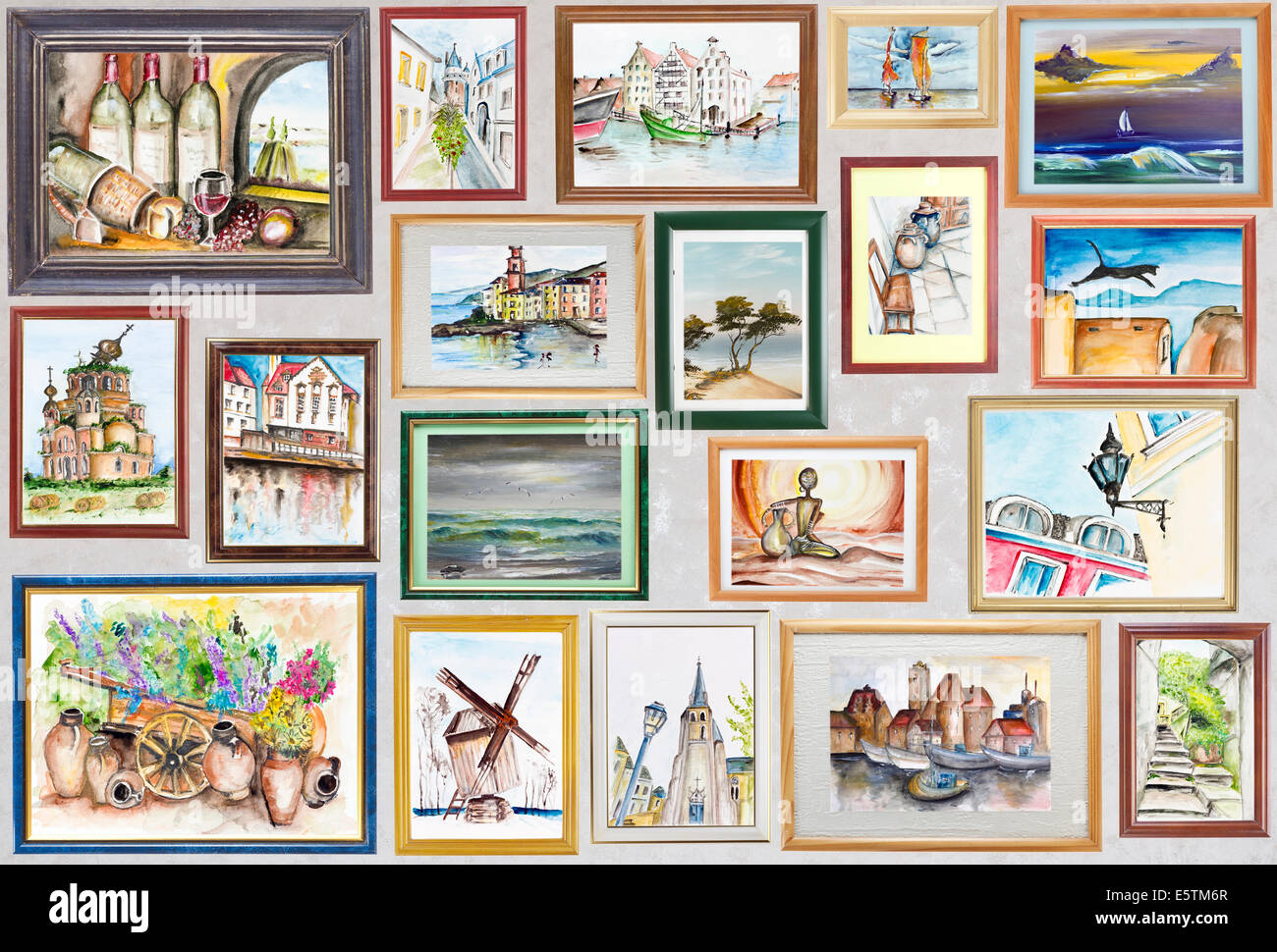 History of watercolor art - History Of My Travel In Watercolor Arts Concept Wooden Frames With Pictures Hang On A Wall With Works Patches