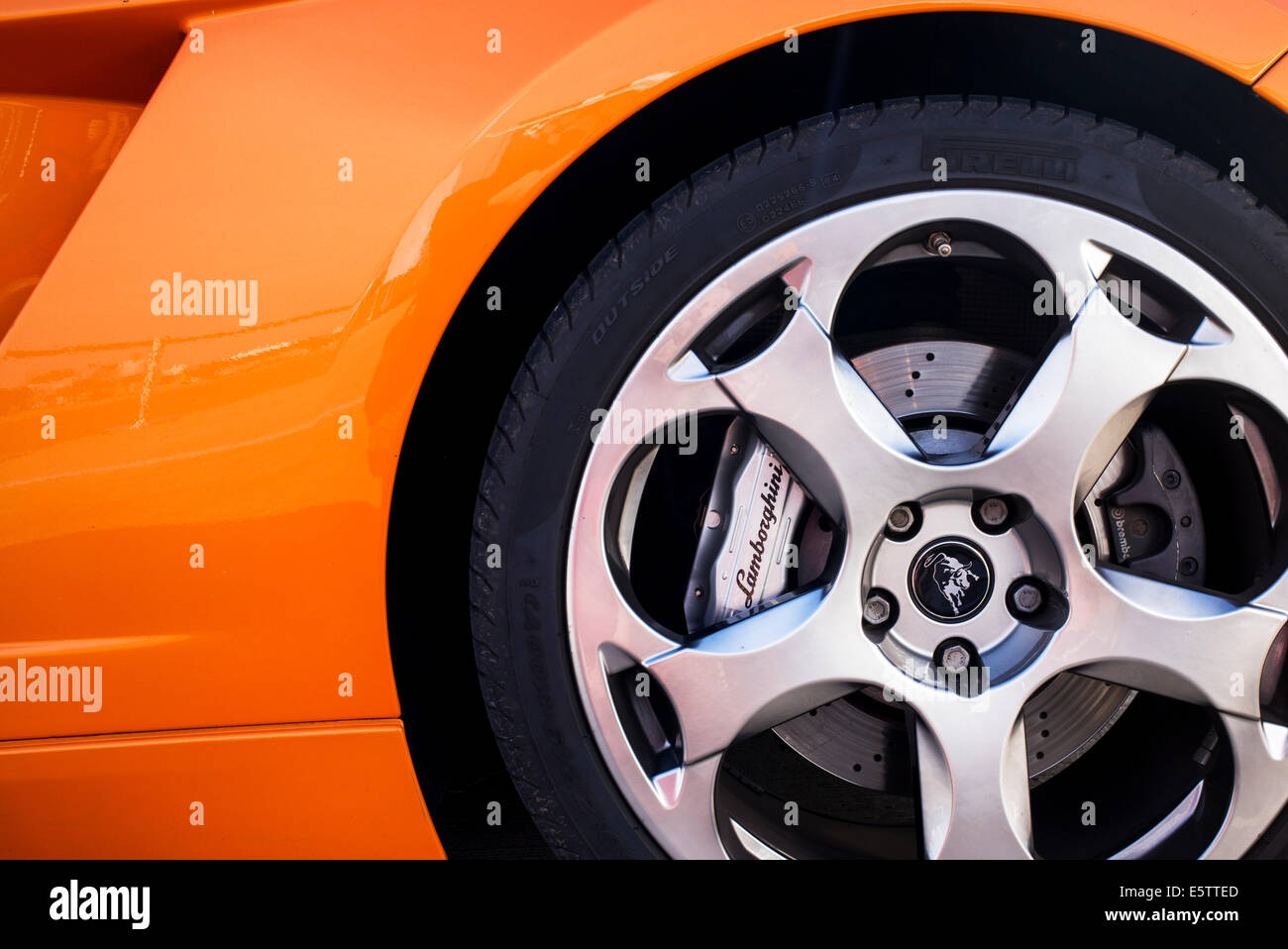 Lamborghini Gallardo Wheel And Brake Caliper Abstract. Italian Super Car    Stock Image