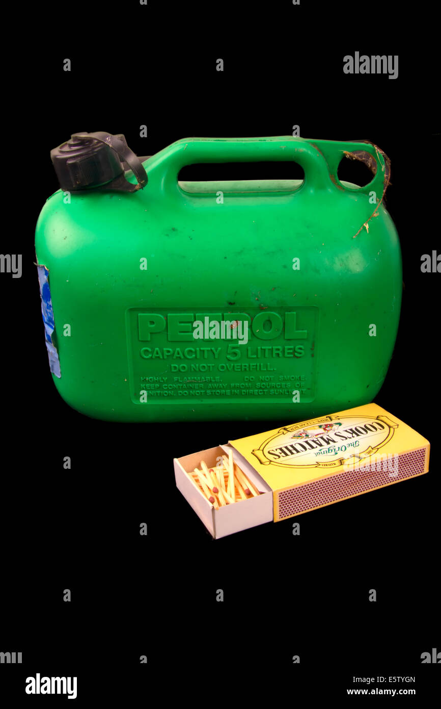 Plastic Gas Cans >> Plastic fuel or petrol can with a box of matches Stock ...