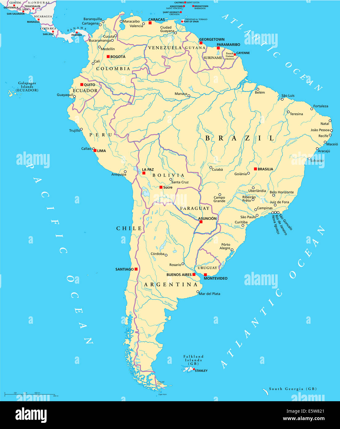 South America Political Map With Single States Capitals - South america map labeled