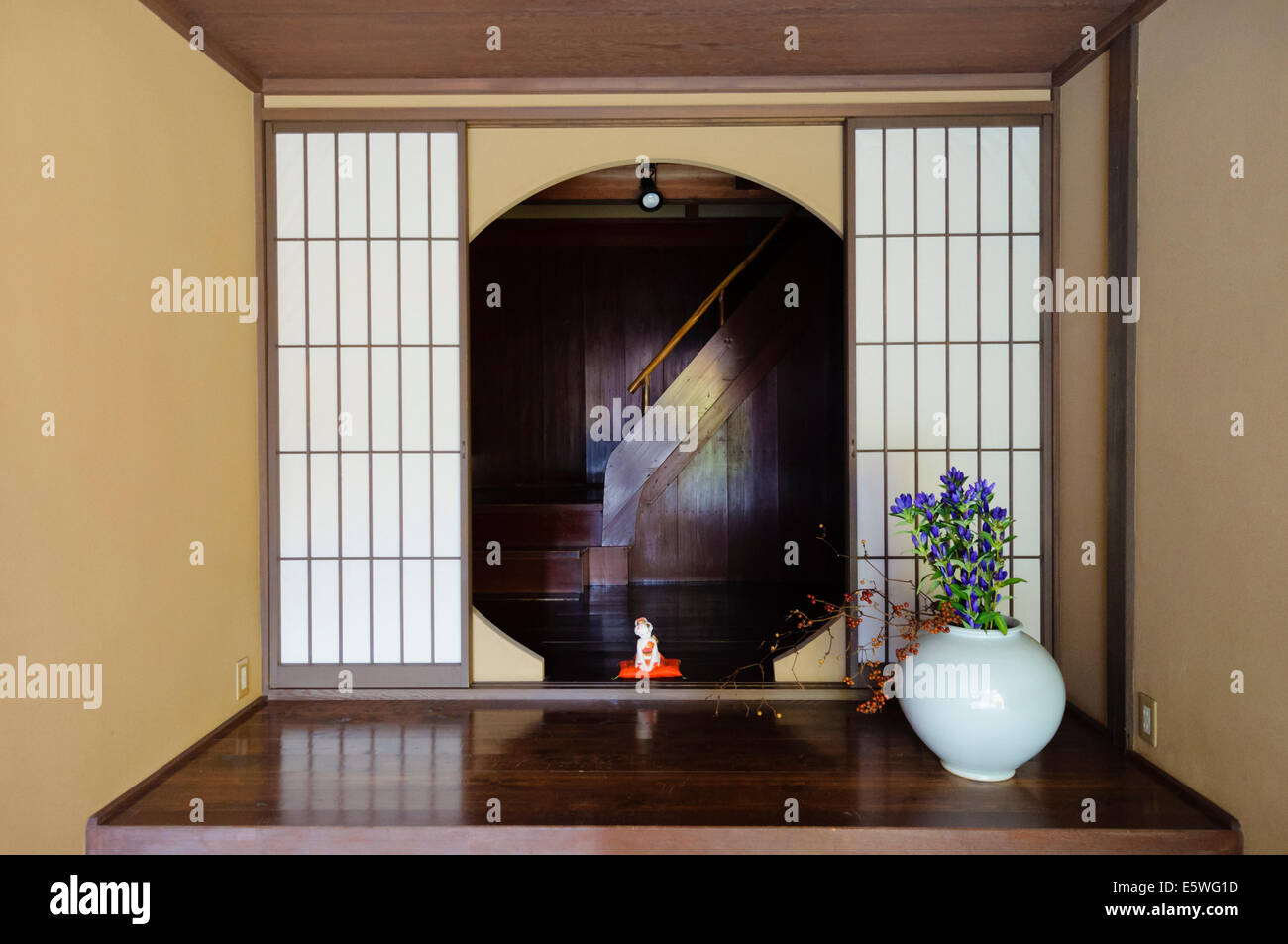 Entrance To An Old Japanese Chaya, Or Tea House Showing Traditional Shoji (sliding  Doors Part 71