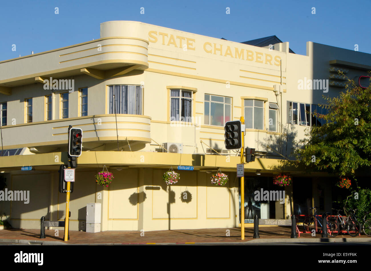 Art Deco Office Building, Nelson, South Island, New Zealand   Stock Image