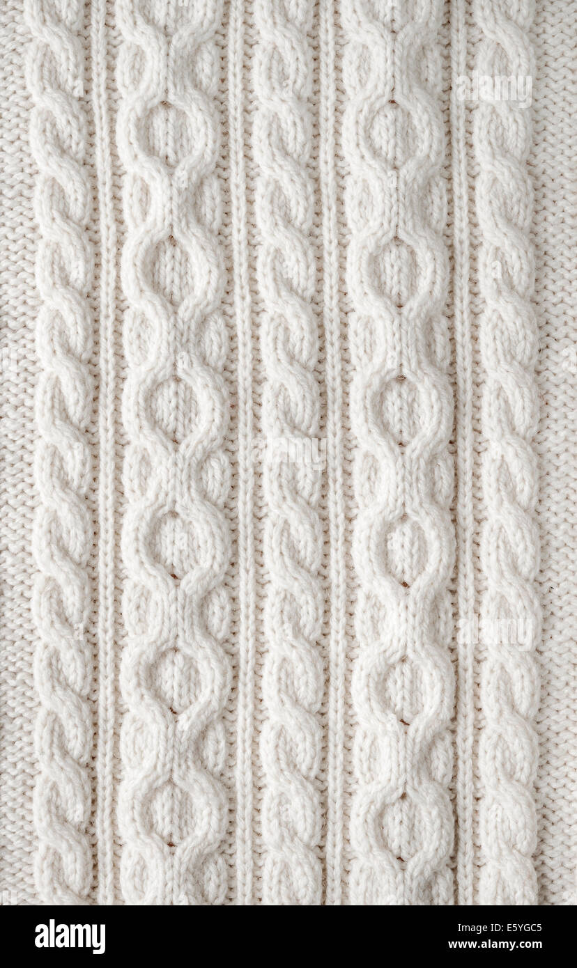 Knitting Background Texture : Knit texture of white wool knitted fabric with cable