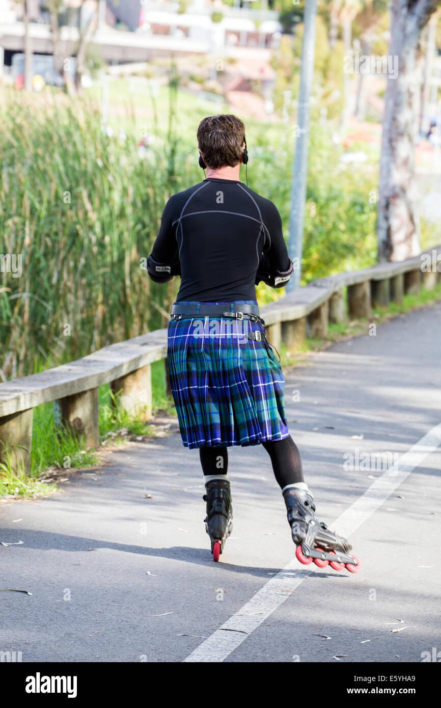 Roller skates adelaide - Man In Kilt Rollerblading In Adelaide Australia
