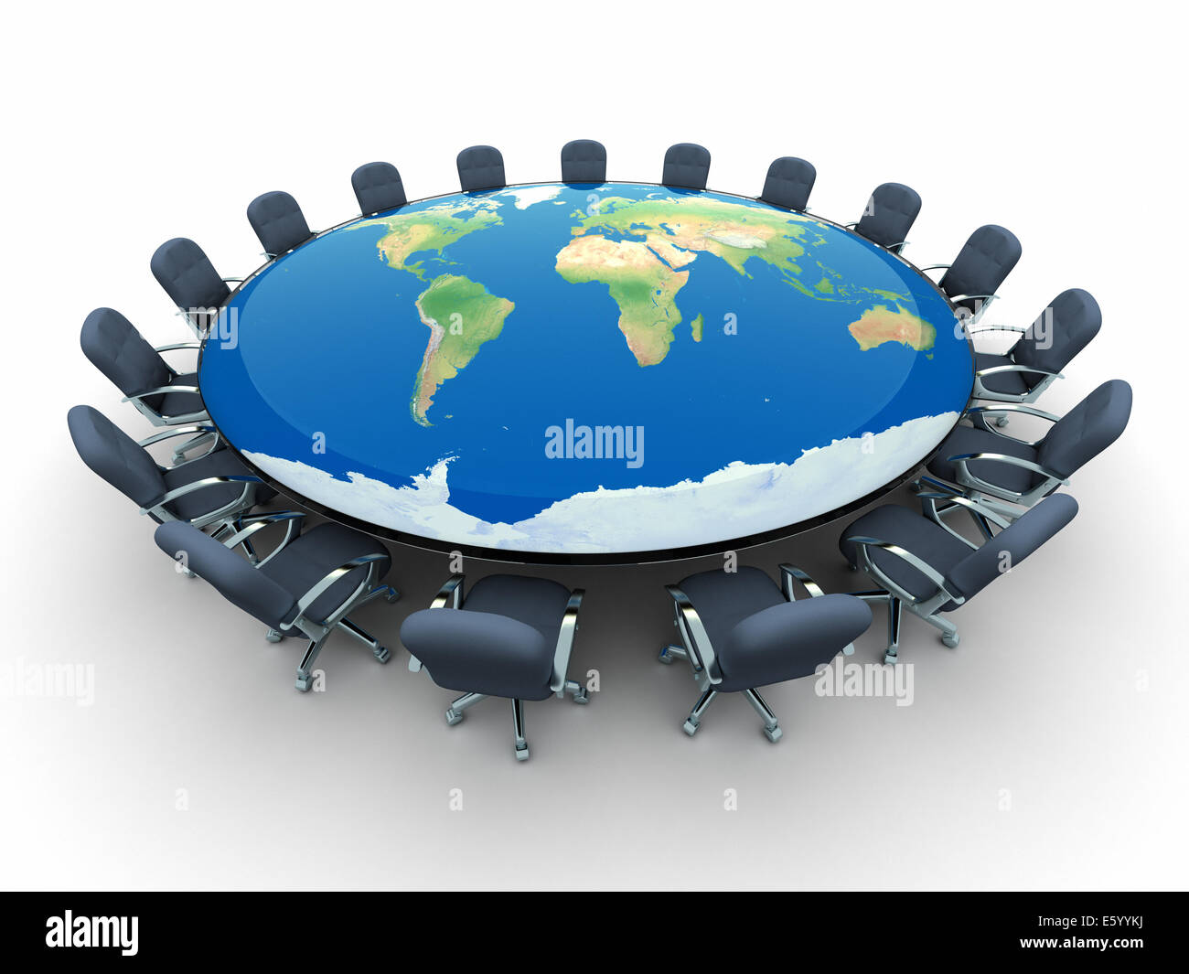 Round Conference Table With The World Map D Render The Map - Round world map image
