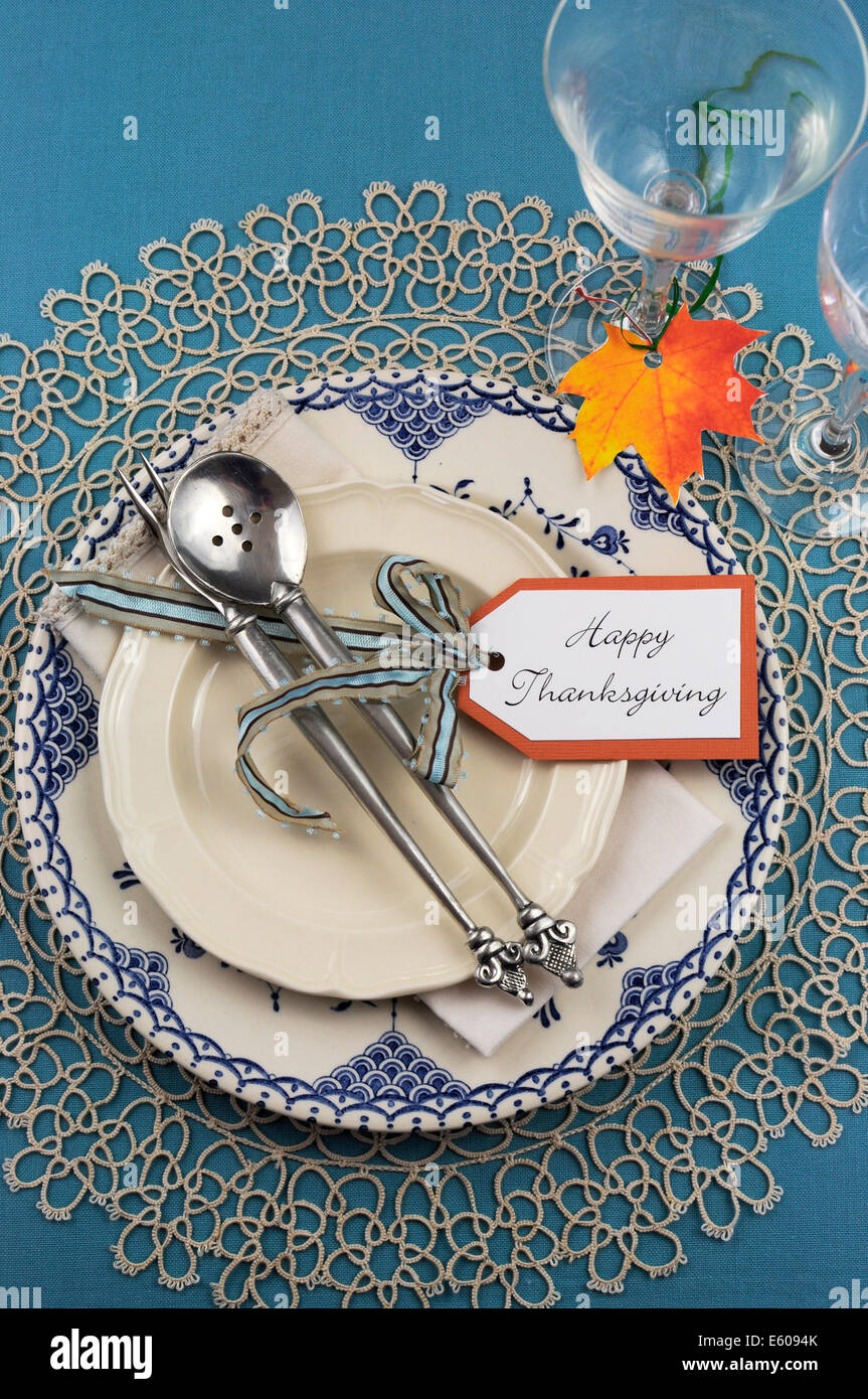 Beautiful vintage Thanksgiving dinner table place setting with vintage shabby chic blue plate and antique silverware & Beautiful vintage Thanksgiving dinner table place setting with Stock ...