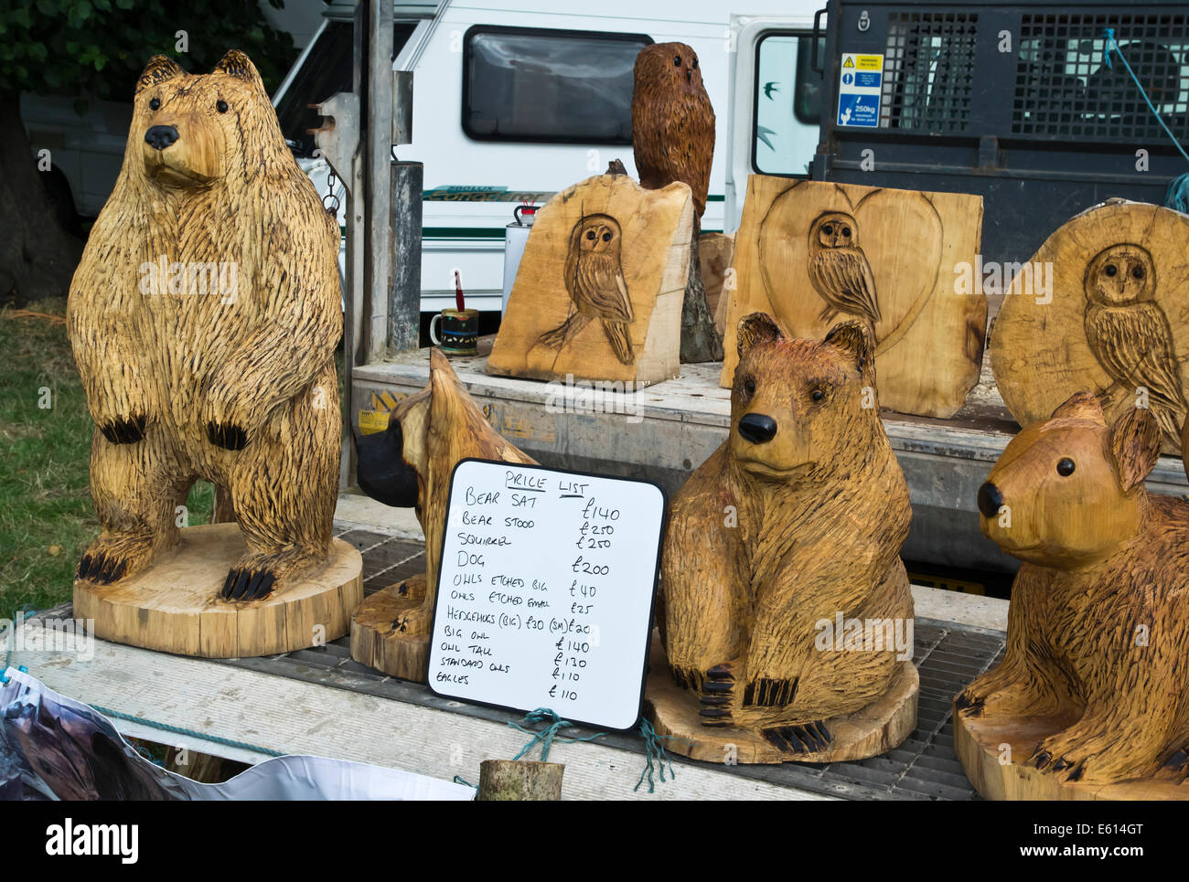 Chainsaw wood carvings for sale stock photo royalty free