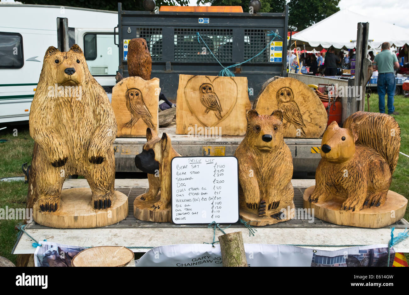 Chainsaw wood carvings for sale stock photo alamy