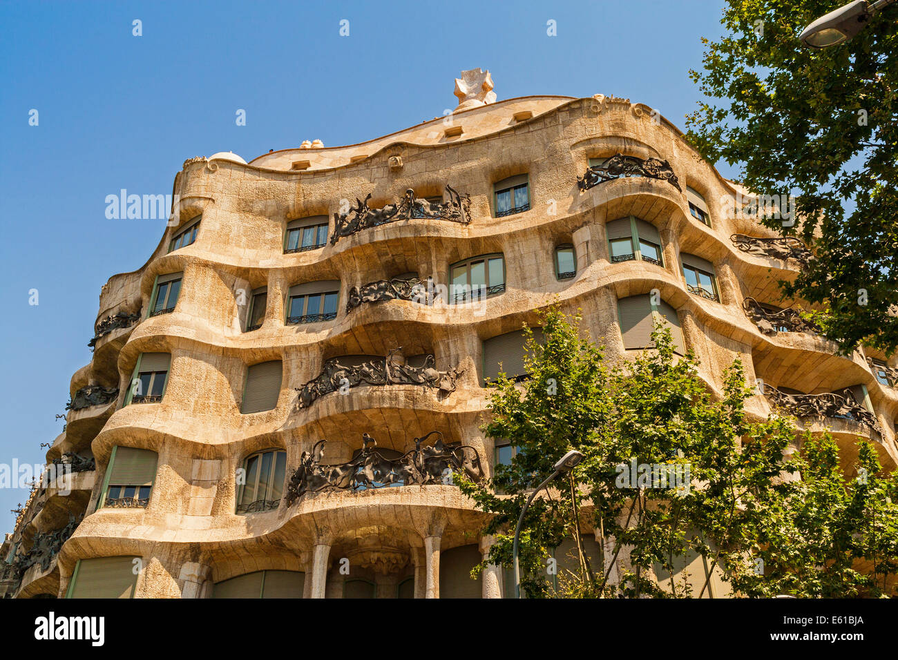 Exterior La Pedrera The Stone Quarry Or Casa Mil 224 An Undulating Stock Photo Royalty Free