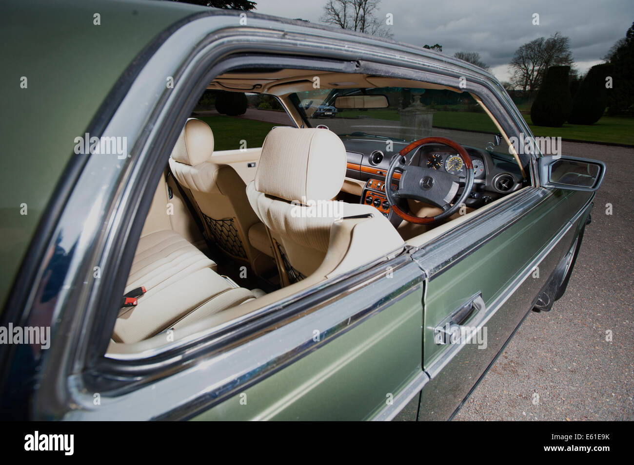 1980 mercedes 280ce e class coupe luxury german car interior through stock photo royalty free. Black Bedroom Furniture Sets. Home Design Ideas