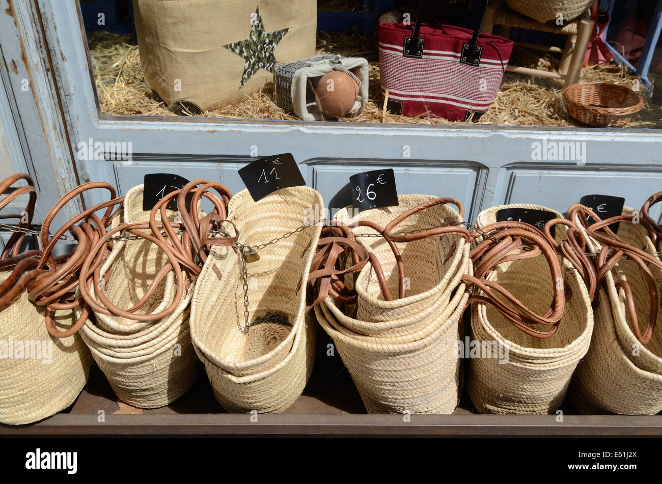 Traditional Shopping Baskets for Sale Outside Bag Shop or Stall ...