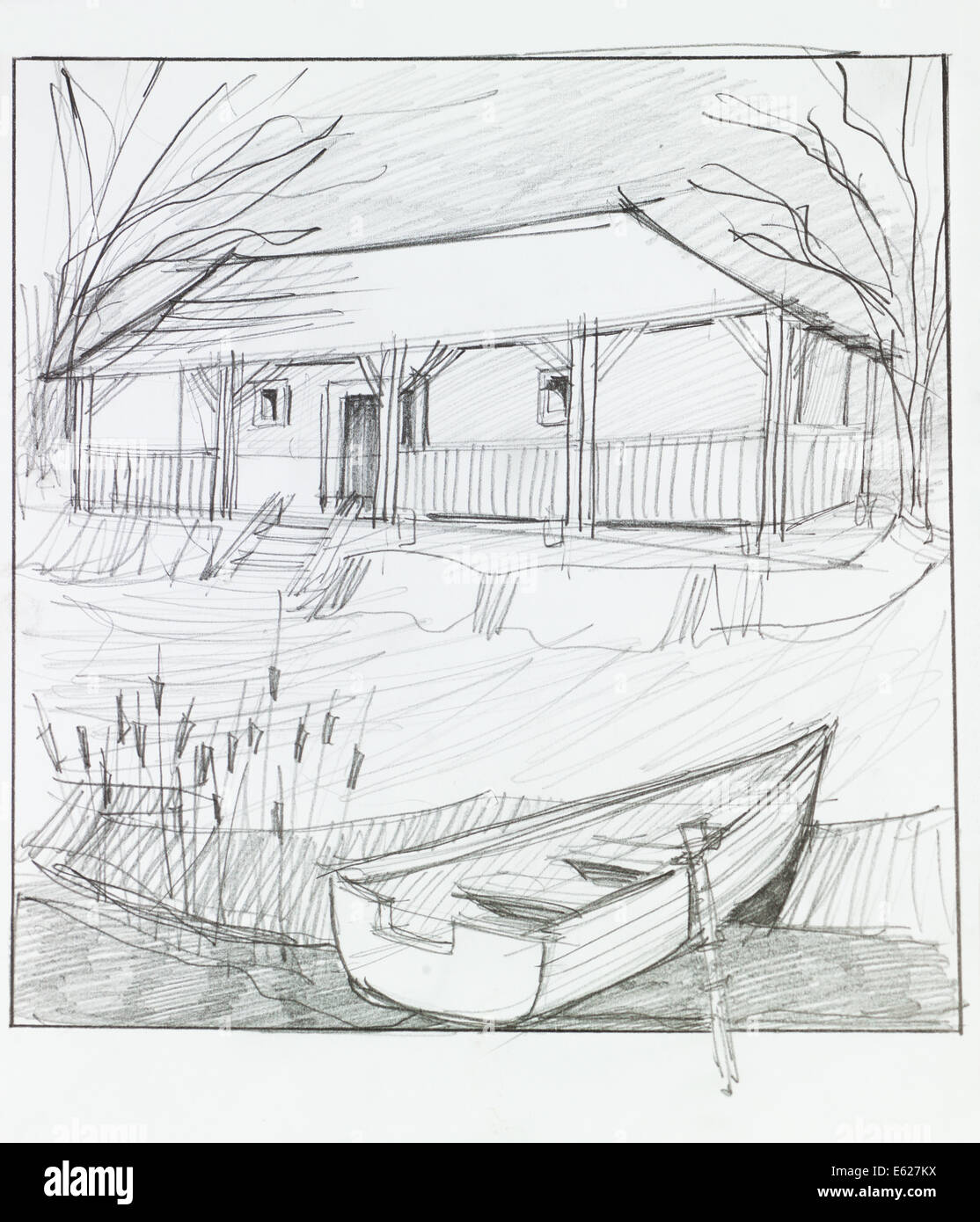 Hand Drawn Illustration Of Countryside House With Lake In Front And Wooden Boat