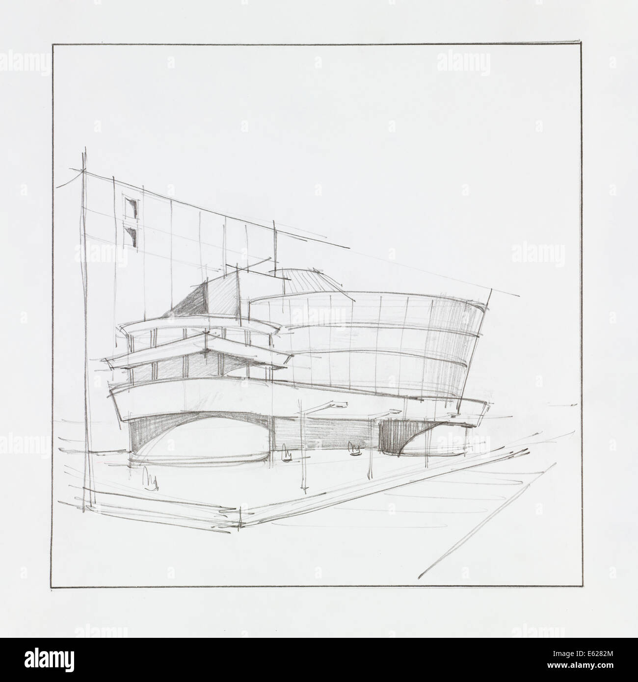 Hand Drawn Architectural Perspective Of Modern Office Building - Modern building sketches