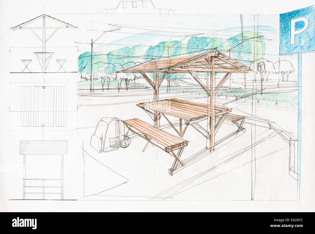 colorful architectural sketch of car park and rest place, drawn by ...