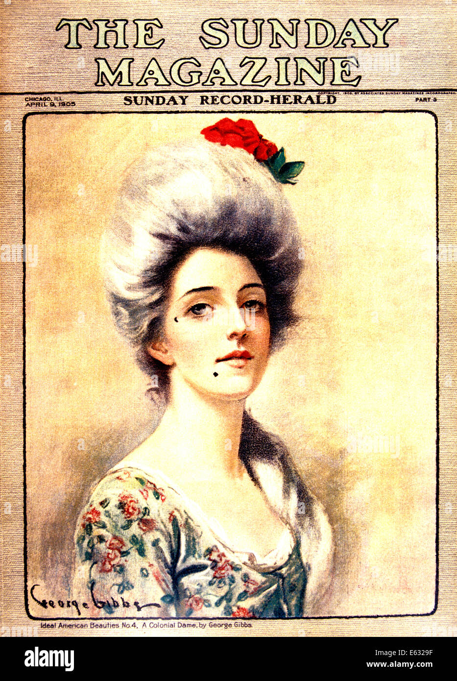 magazine cover portrait of s th century w powdered 1905 magazine cover portrait of 1700s 18th century w powdered hair beauty mark colonial fashion by g gibbs