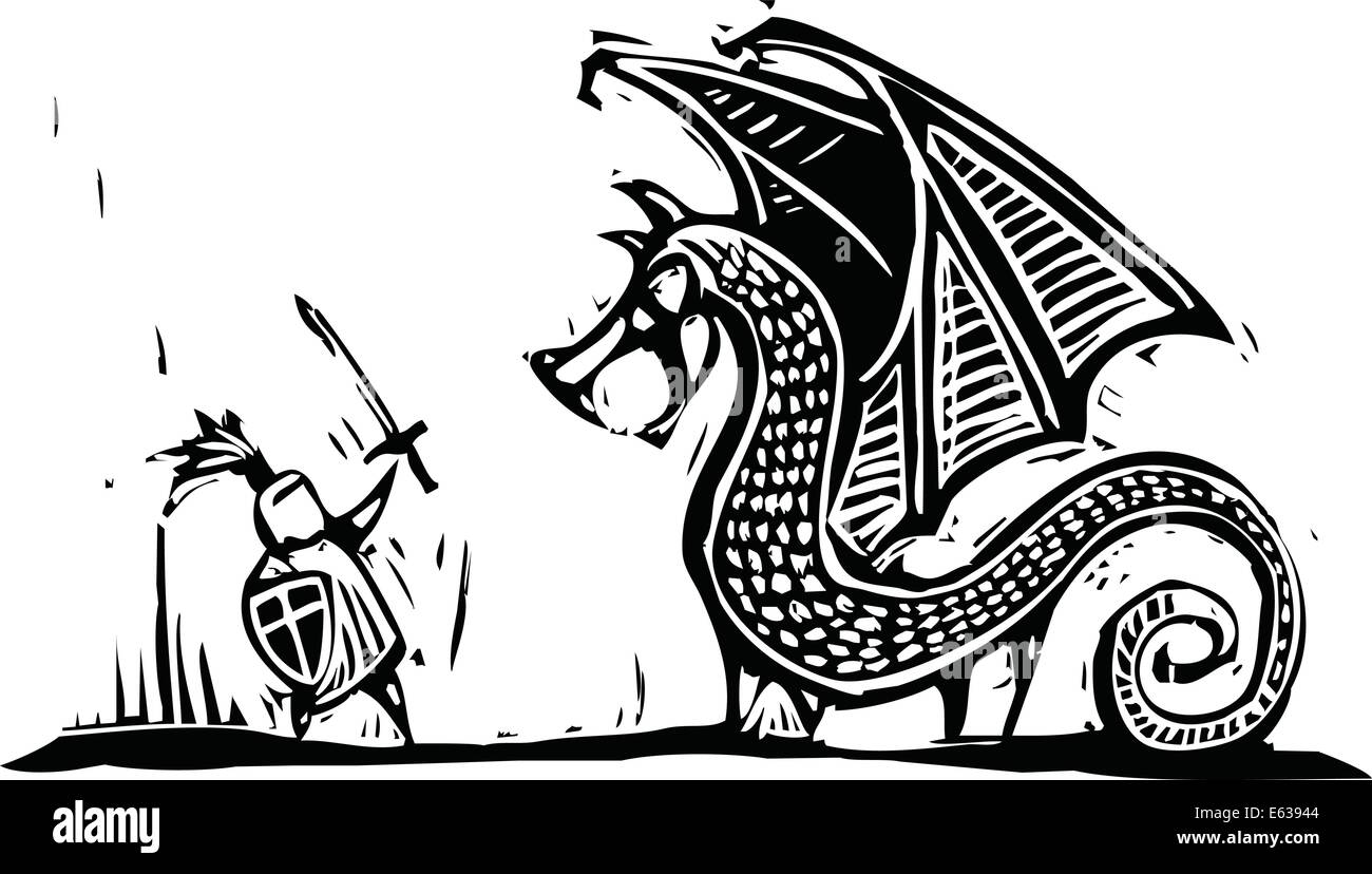 Knight Fighting Dragon Drawing