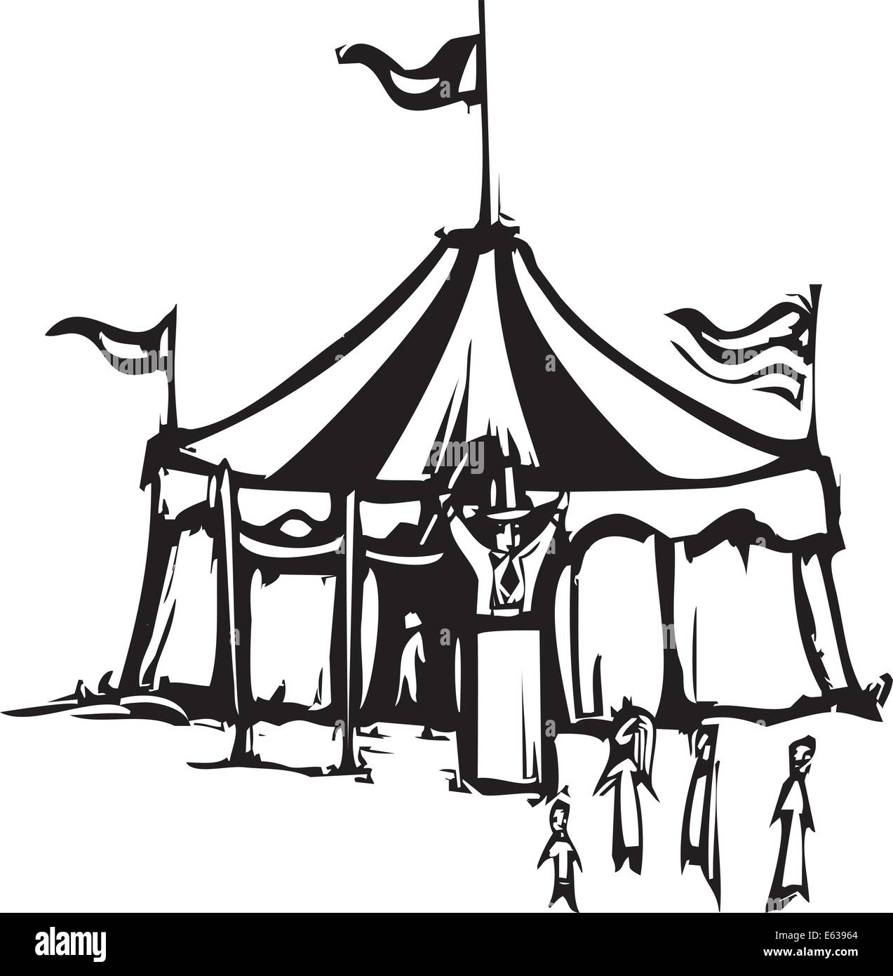 Woodcut expressionist style image of a carnival circus tent  sc 1 st  Alamy & Woodcut expressionist style image of a carnival circus tent Stock ...