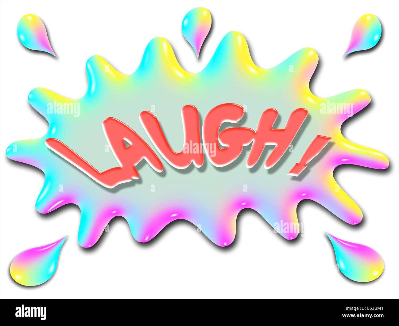 The word Laugh is shown on top of a stylized splash of ...
