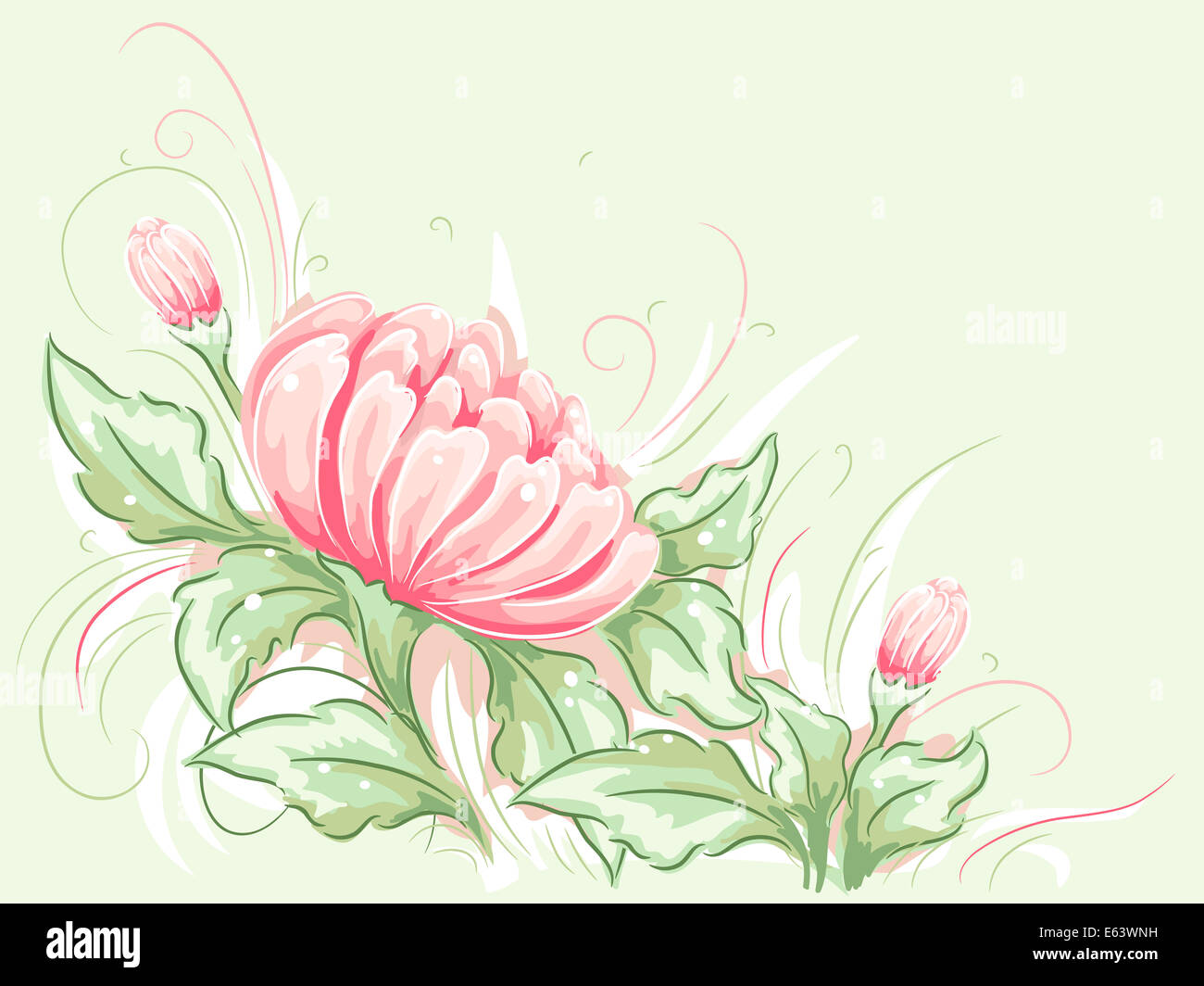 Shabby Chic Themed Illustration Featuring Floral Border Stock