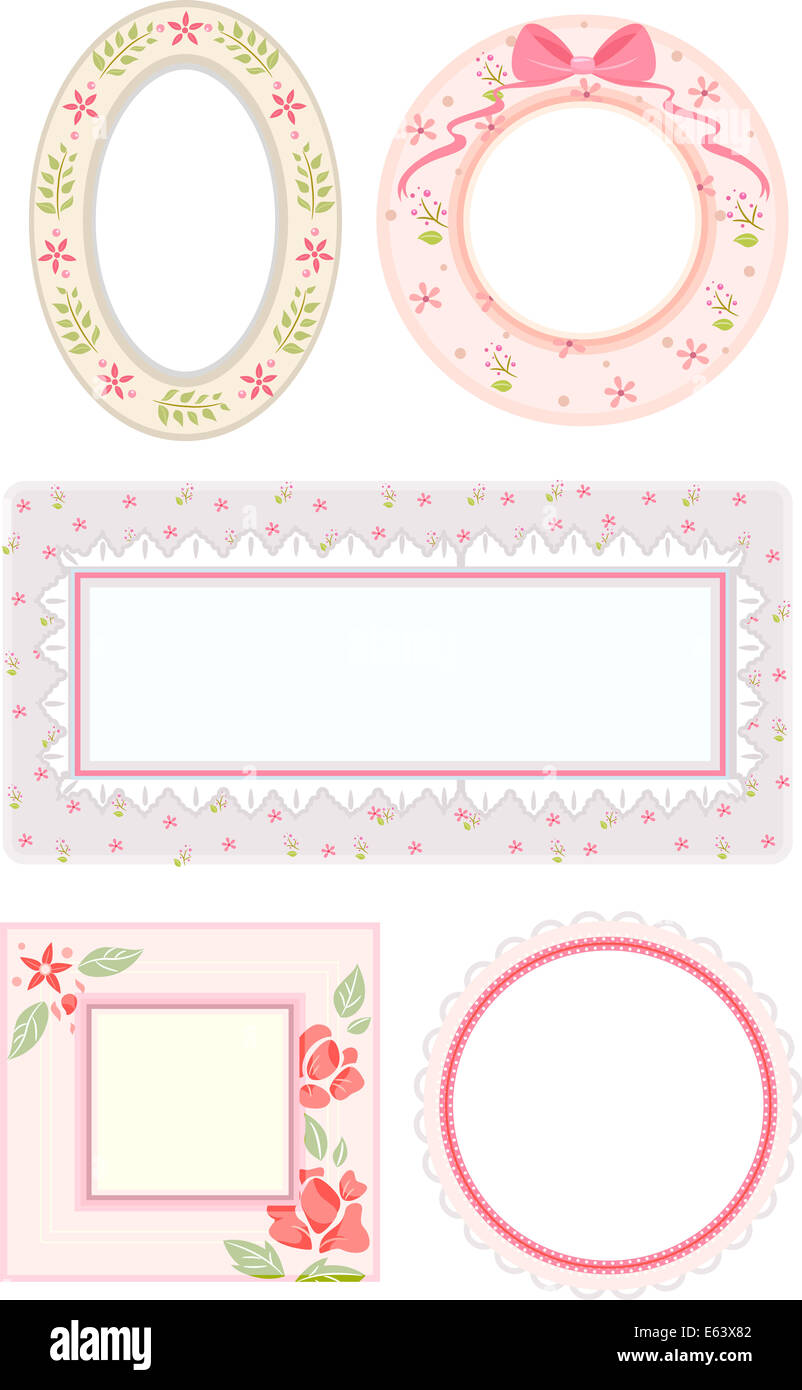 Illustration Featuring Flowery Frames With A Shabby Chic Theme