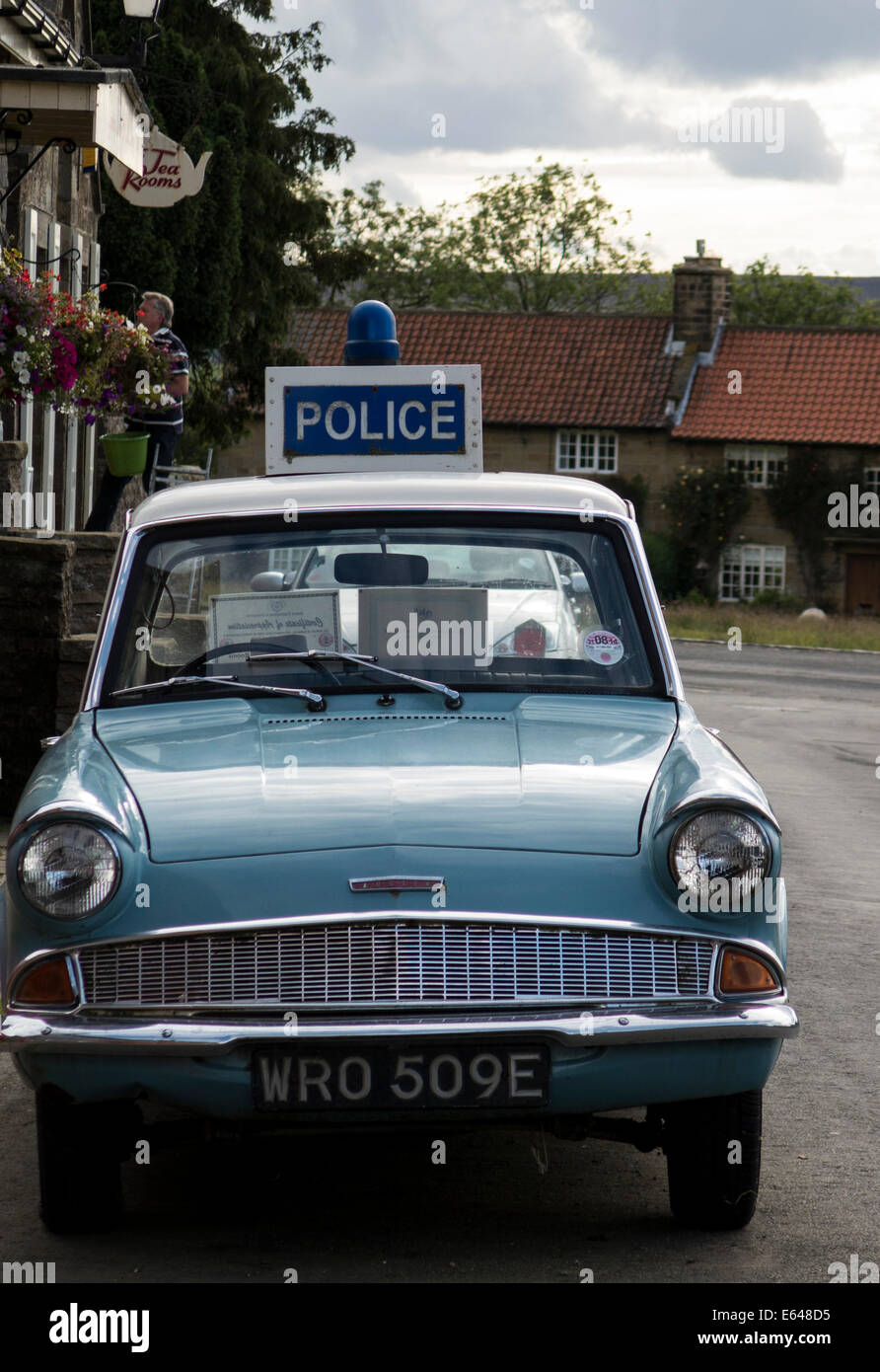 Vintage And Classic English Police Car At Goathland Village Near