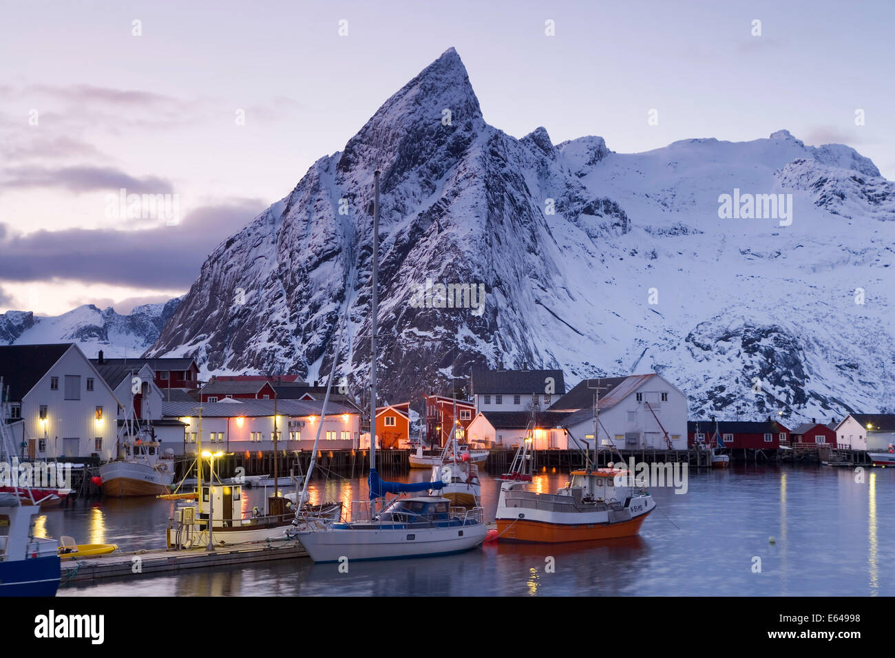 harbour in winter at hamnoy lofoten islands norway stock. Black Bedroom Furniture Sets. Home Design Ideas