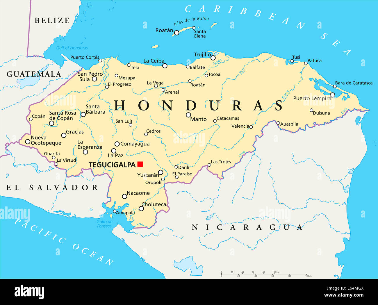 Honduras Political Map With Capital Tegucigalpa, National Borders, Most  Important Cities, Rivers And