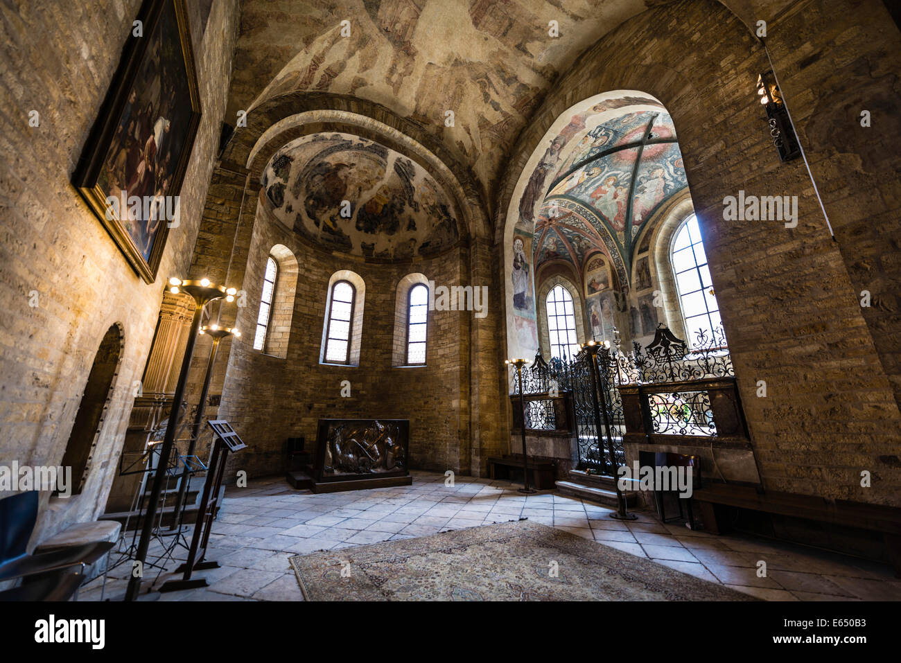 Historical wall murals stock photos historical wall murals stock interior view chancel historical murals st georges basilica prague castle amipublicfo Image collections