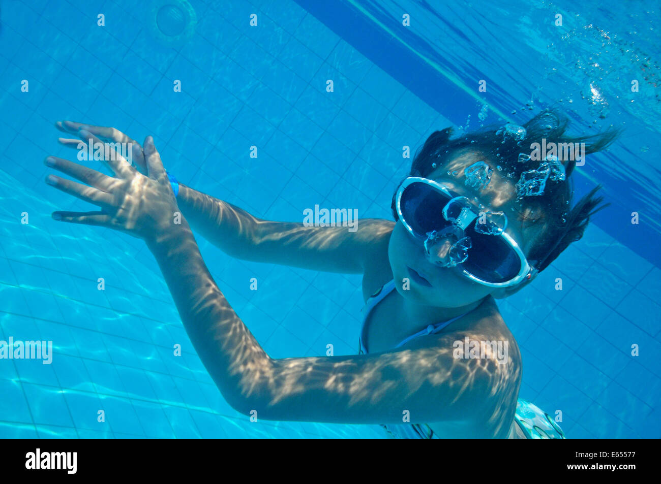 Young girl swimming underwater in a swimming pool Stock ...