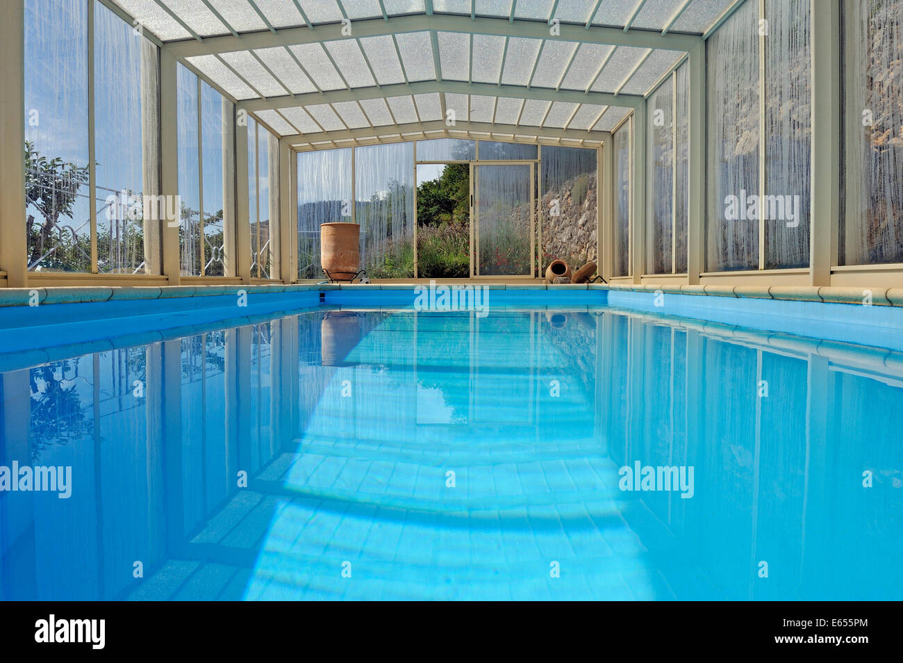 Luxury Swimming Pool Under A Shelter At A Mountain Home