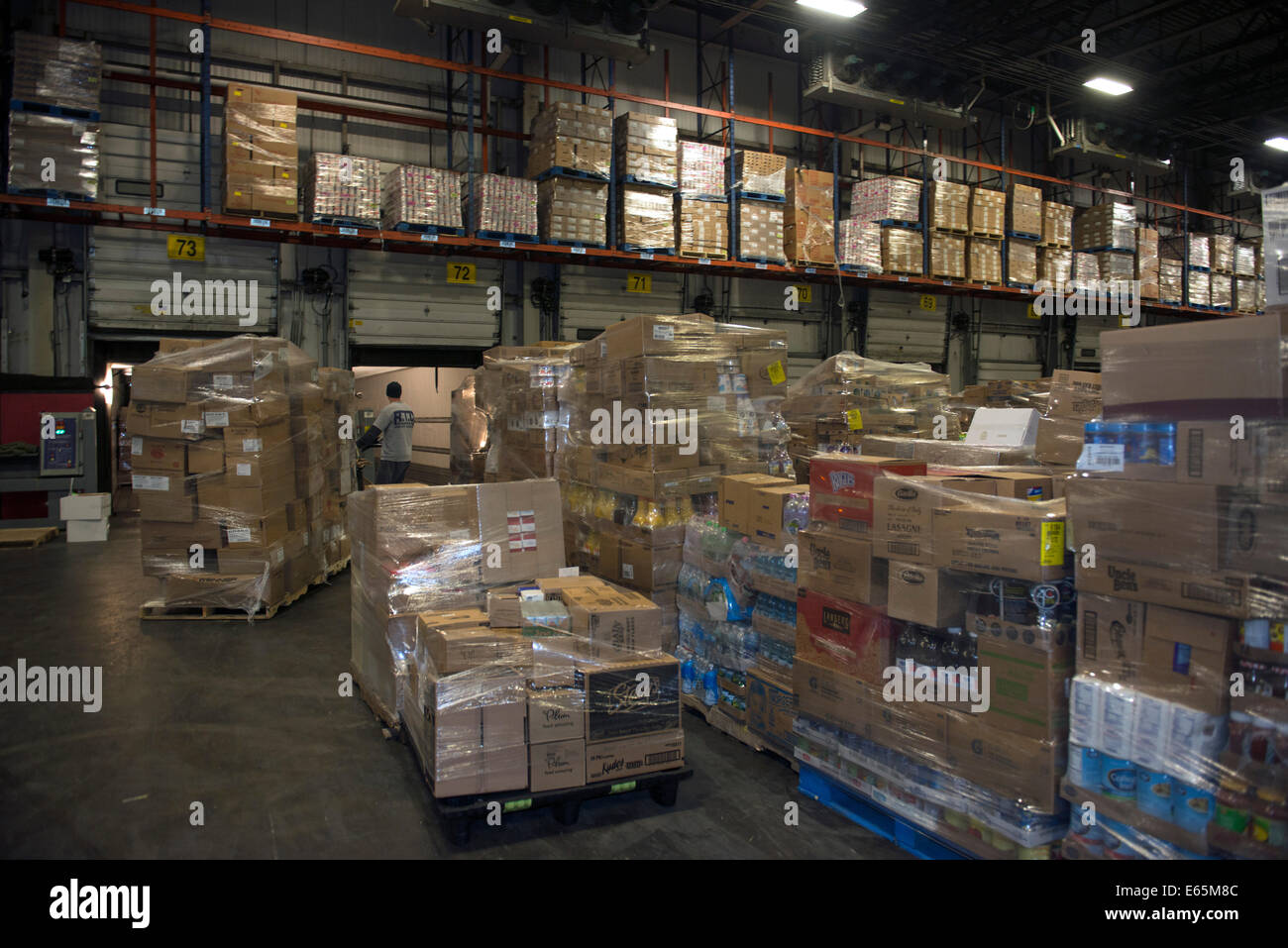 Refrigerated Area In Giant Warehouse Of Food Distributor