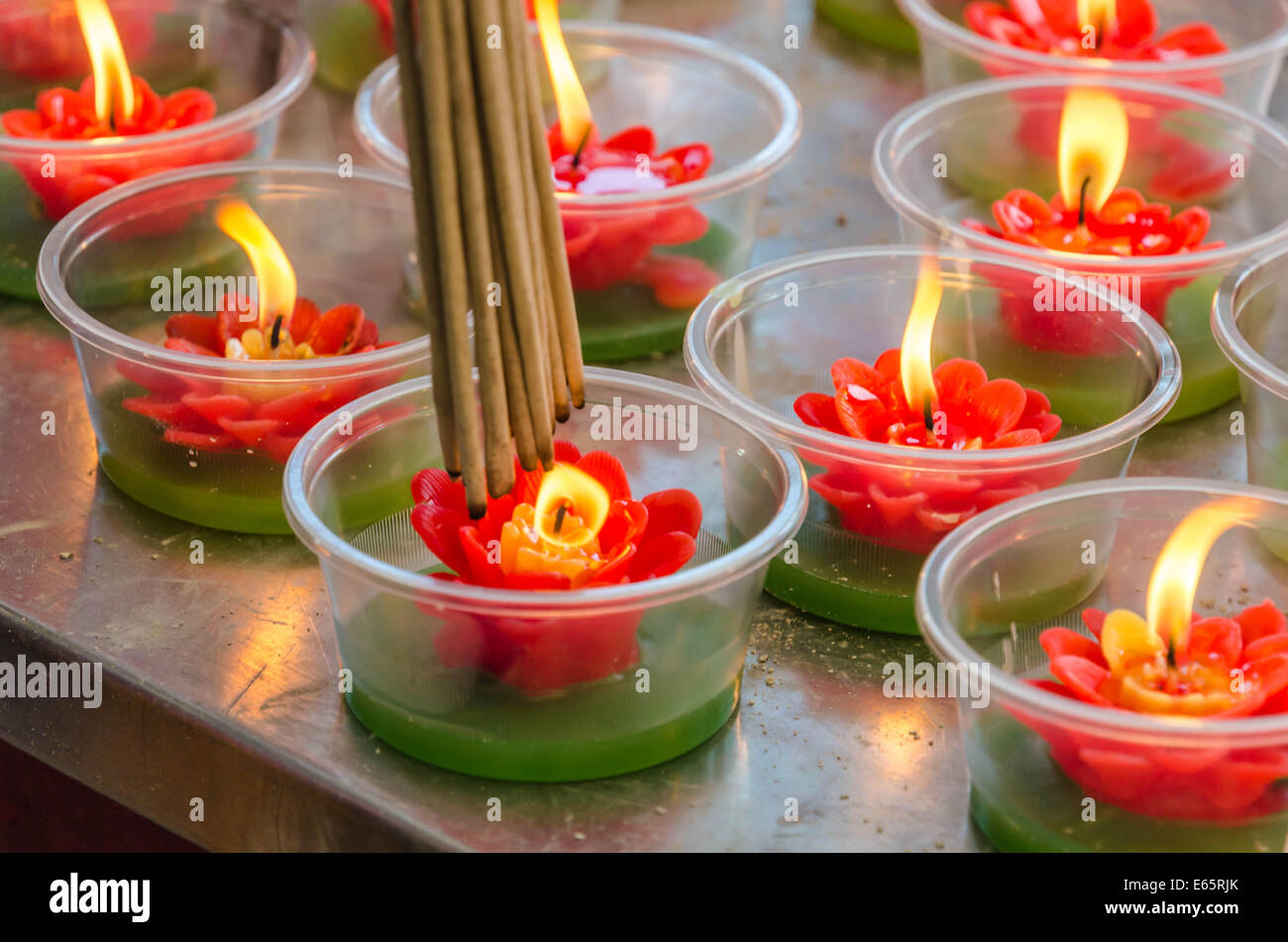 Flower candle in Chinese temple Stock Royalty Free Image A