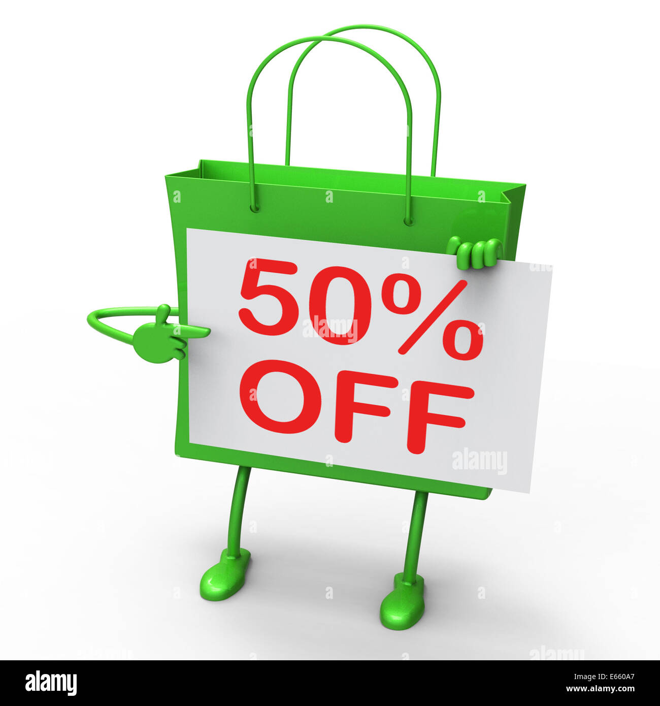 Fifty Percent Reduced On Shopping Bags Show 50 Bargains Stock ...